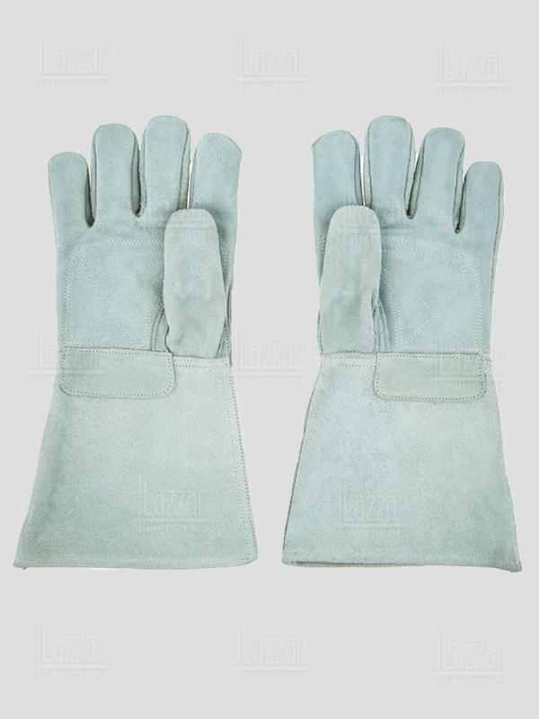 Long gray welder gloves