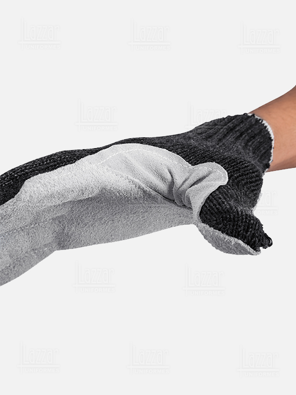 gray Cotton Gloves with Faux Leather Palm