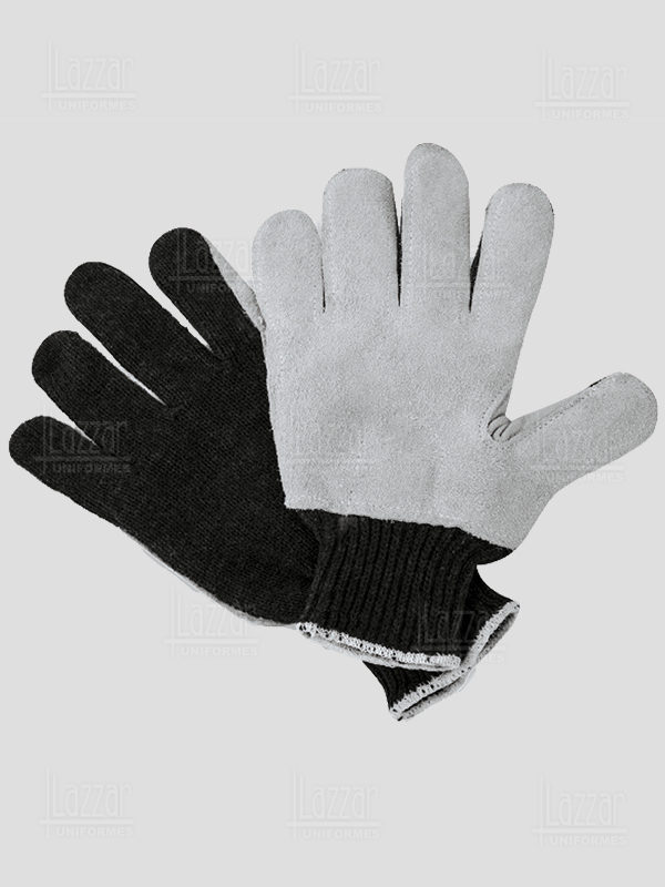 Cotton Gloves with faux leather Palm