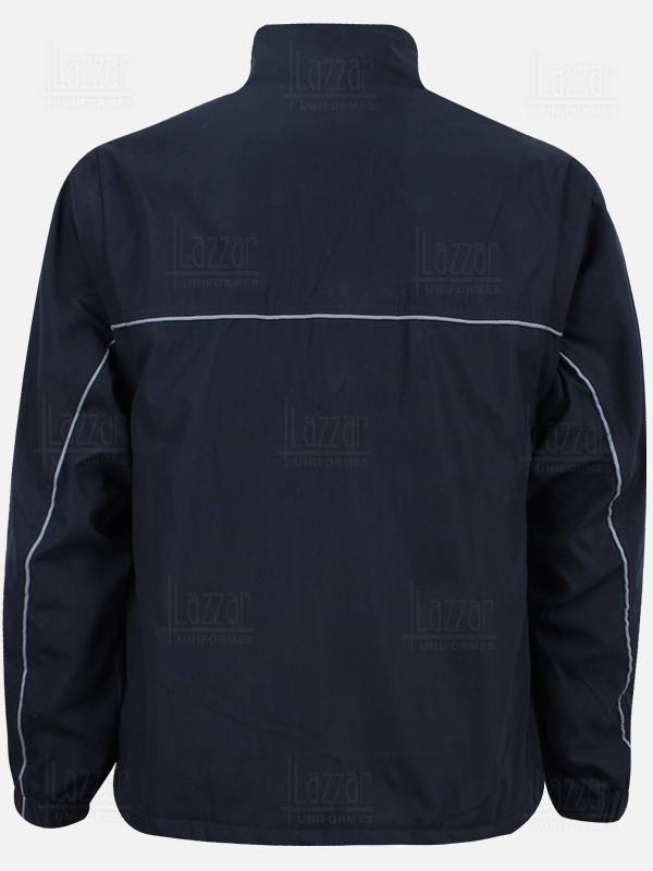 Jacket with detachable sleeves navy blue color