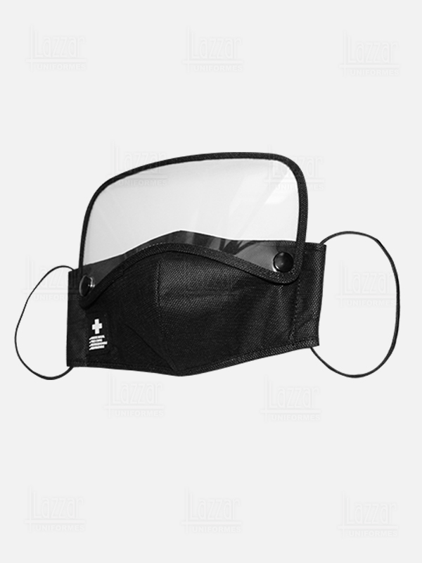 Triple layer mouth cover with face mask left view female