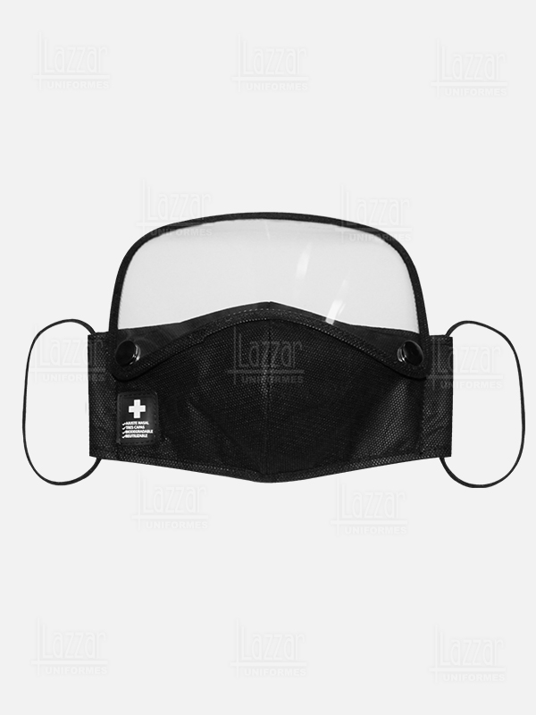 Face shield with triple layer mask front view