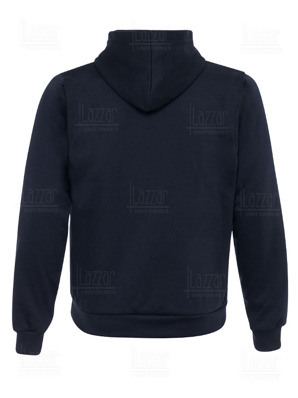Sweatshirt with zipper and cap rear view