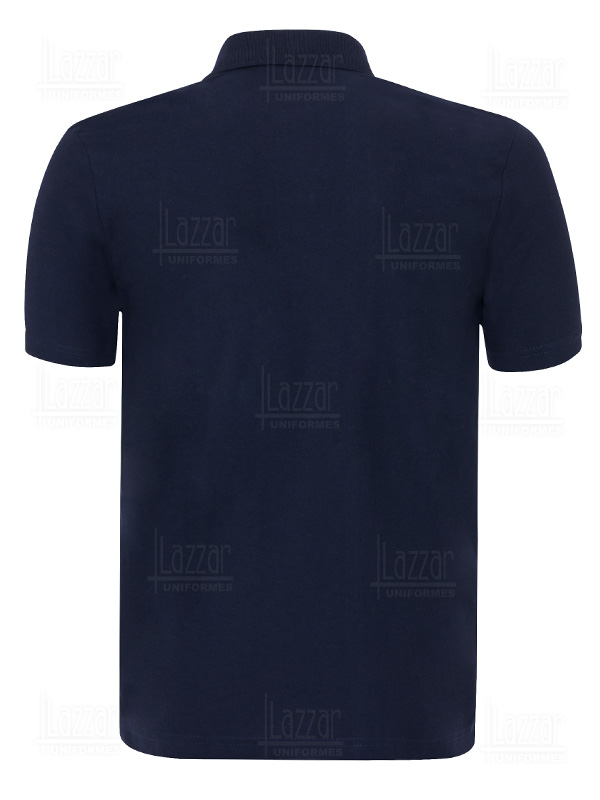 P 506 navy blue with white polo shirt rear view