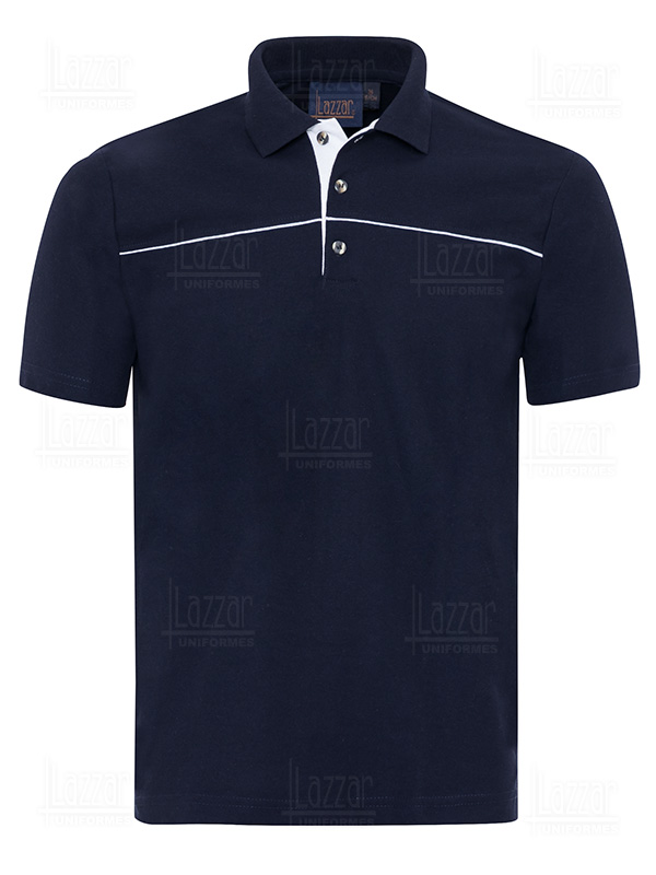 Polo shirt P 506 navy blue with white front view