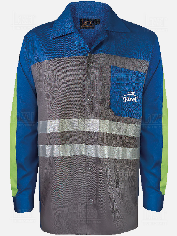 Blue shirt with reflective ribbons for men