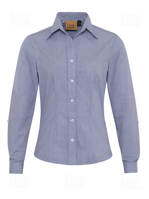 Blue navy checked blouse