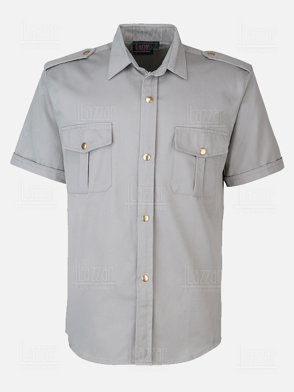 Police shirt gray color back view