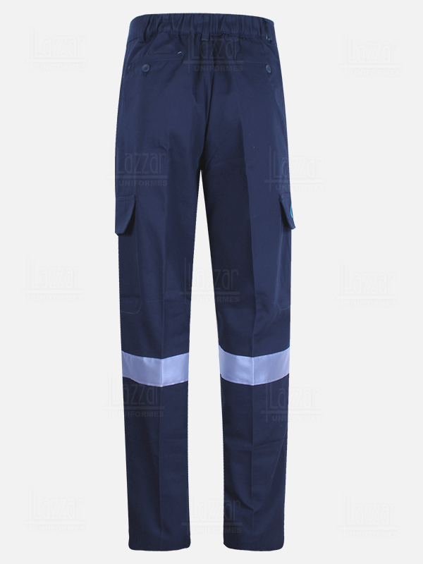 Blue navy High visibility trousers rear view