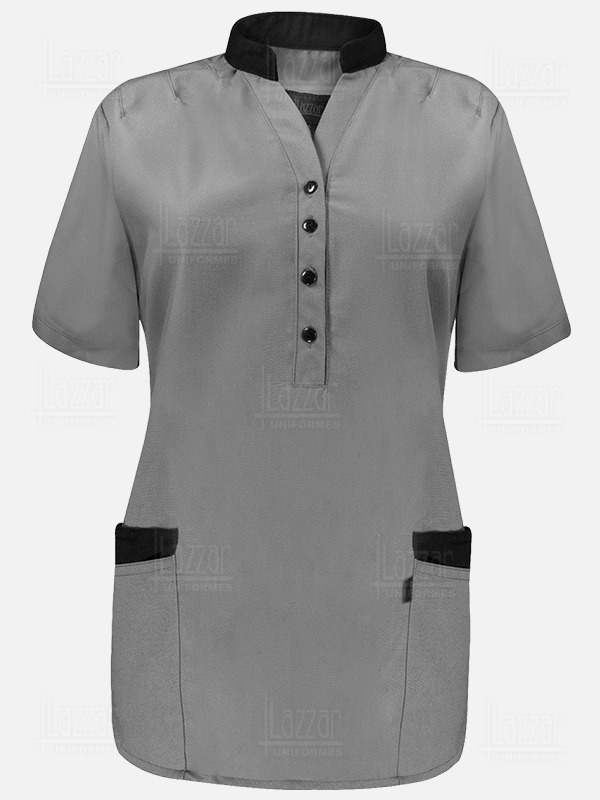 gray short sleeves waitress gown for waitress
